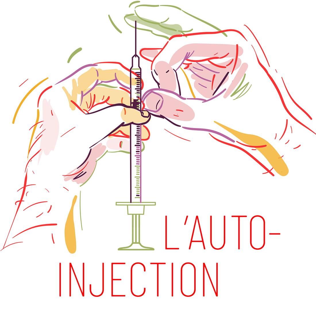 Deux mains tiennent une seringue – L'auto-injection de drogue